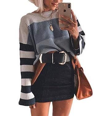 KIRUNDO Women's Color Block Sweater Crew Neck Lightweight Oversized Jumper Tops Long Sleeves Knit Pullovers (