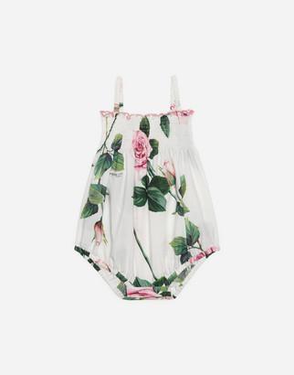 Dolce & Gabbana Poplin Romper Suit With Tropical Rose Print