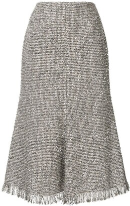 GOEN.J Metallic Tweed Midi Skirt