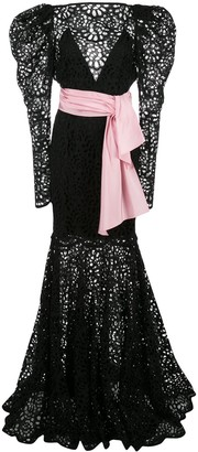 Carolina Herrera floral laser-cut gown
