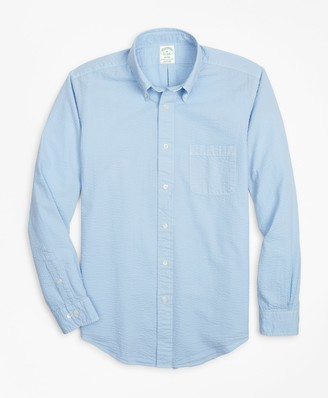 Brooks Brothers Milano Fit Garment-Dyed Seersucker Sport Shirt