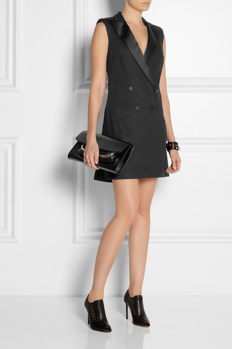 McQ Satin-trimmed cady tuxedo-style dress