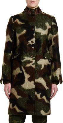 Ermanno Scervino Camo Jacquard Knee-Length Coat