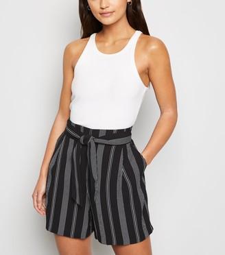 New Look Petite Stripe Tie High Waist Shorts
