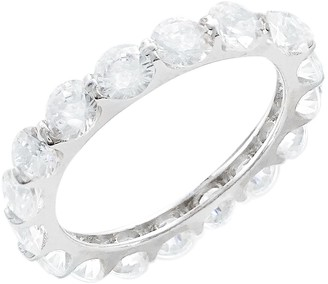 Savvy Cie Sterling Silver Shared Prong Round Cut CZ Eternity Band Ring