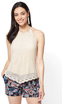 New York & Co. Crochet Halter Top - Ivory