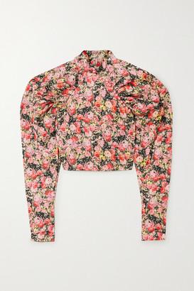 Rotate by Birger Christensen Kim Cropped Floral-print Woven Top - Blush