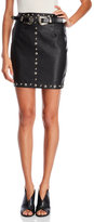 Missguided Belted Stud Faux Leather Mini Skirt