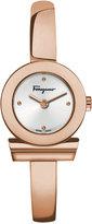 Salvatore Ferragamo Women's Swiss Gancino Rose Gold-Tone Ion-Plated Stainless Steel Bangle Bracelet Watch 22mm FQ5050014