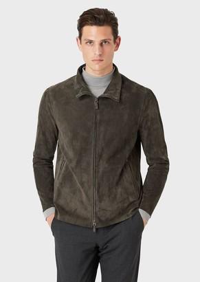 Giorgio Armani Suede Jacket With Full Zip Collar