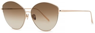 Linda Farrow Luxe Ella 18kt rose gold-plated cat-eye sunglasses