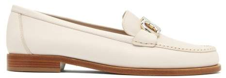Salvatore Ferragamo Rolo Leather Loafers - Womens - White
