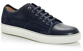 Lanvin Men's Suede & Leather Cap Toe Low Top Sneakers