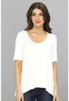 Three Dots Lightweight Viscose 1/2 Sleeve Relaxed High-Low Tee