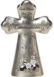 Precious Moments First Communion Mini Tabletop Cross, Girl