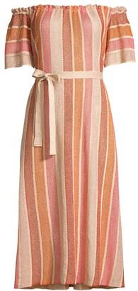 SUNDRESS Belly Off-The-Shoulder Belted Dress