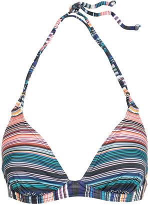 Jets Striped Triangle Bikini Top