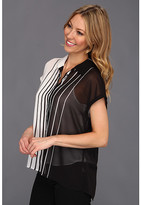 Vince Camuto Button Front Inverted Stripe Blouse