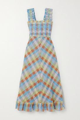 Ganni Ruffled Smocked Checked Cotton-blend Seersucker Midi Dress - Light blue