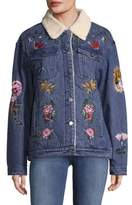 Bagatelle Faux Shearling Embroidered Denim Jacket