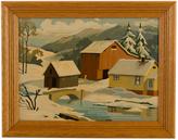 Rejuvenation Paint by Numbers Snowy Scene w/ Oak Frame c1960's