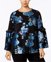 Alfani Plus Size Metallic Floral-Print Top, Created for Macy's