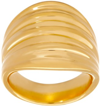 Bold Ribbed Ring 14k Gold Over Resin
