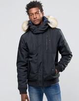 Hilfiger Denim Bomber Jacket With Faux Fur Trim In Black