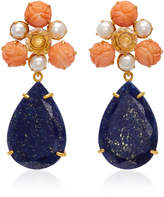 Bounkit Gold-Plated Carved Bamboo Coral Pearl Clear Quartz and Lapis Earrings