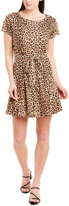 Rebecca Taylor Leopard Print Linen A-Line Dress