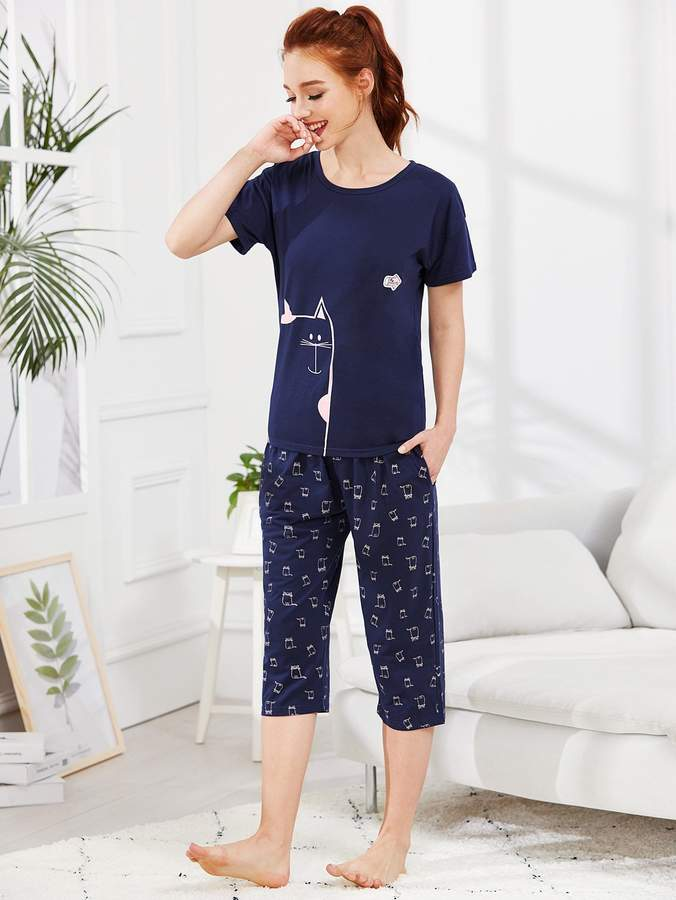 Animal Print Tee & Pants PJ Set