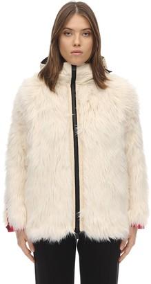 Moncler Bigfoot Faux Fur Nylon Laque Down Jacket