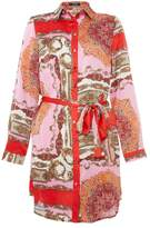 Quiz Pink And Red Satin Scarf Print Shirt dress