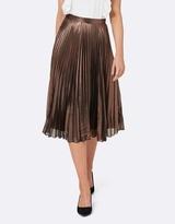 Forever New Celene Copper Split Pleated Midi Skirt