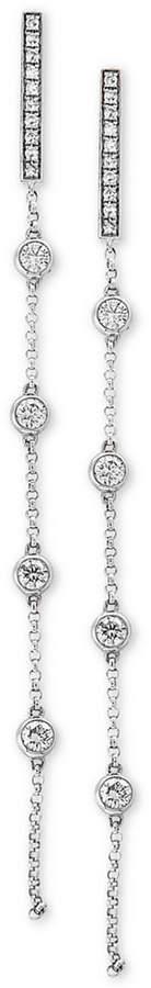 Effy Pave Rose by Diamond Linear Drop Earrings (1/2 ct. t.w.) in 14k White Gold