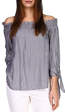 MICHAEL Michael Kors Metallic Striped Off The Shoulder Top