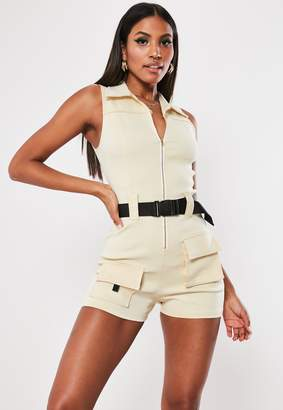 Missguided Cream Sleeveless Cargo Pocket Playsuit