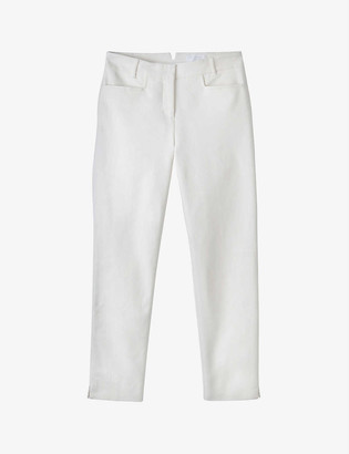 The White Company Slim-leg mid-rise organic-cotton trousers