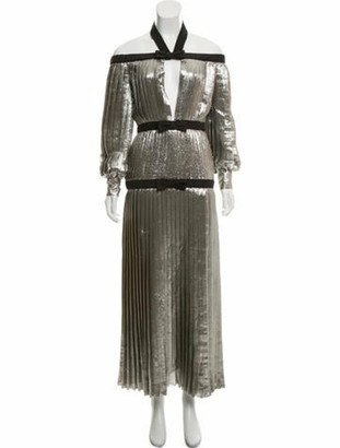 Alessandra Rich Lame Plisse Dress w/ Tags Silver
