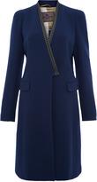 Etro Blue Brocade Trim Coat