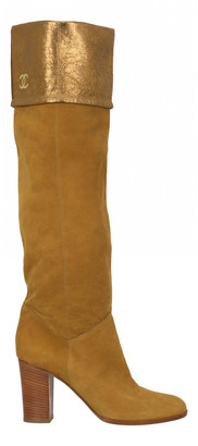 Chanel Yellow Suede Boots