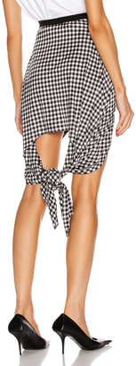 Burberry Gingham Mini Skirt With Knot Detail in Black | FWRD