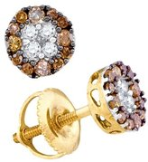 JawaFashion 10kt Yellow Gold Womens Round Cognac- Colored Diamond Cluster Stud Earrings 1/3 Cttw
