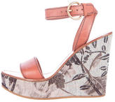 Miu Miu Floral Wedge Sandals