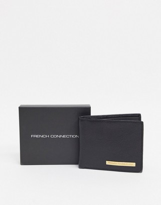 French Connection metal bar wallet in black