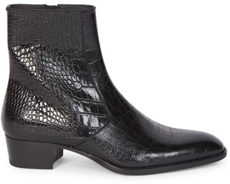 Saint Laurent Wyatt Croc-Embossed Leather Boots