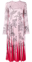 Valentino Garden Segments pleated midi dress