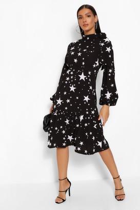 boohoo Star Print Tie Neck Midi Dress