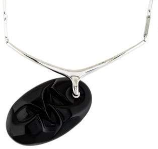 Lalique Carved Onyx Swivel Pendant Necklace