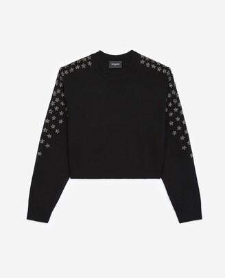 The Kooples Black cashmere and wool sweater w/rhinestone